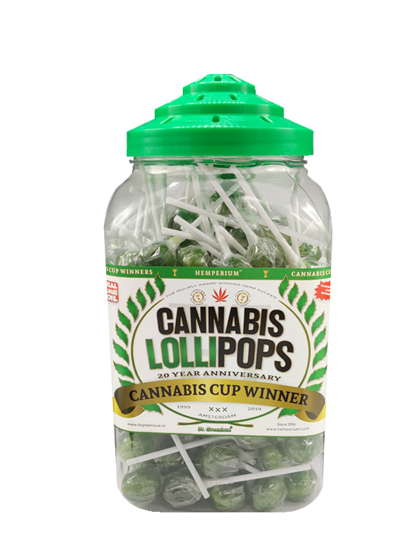 Authentic, multiple award-winning Cannabis Lollipops from Hemperium in the original 1990's retro jar.