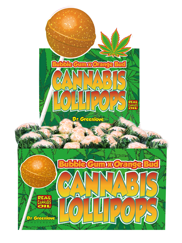 Cannabis Lollipops, Bubble Gum x Orange Bud